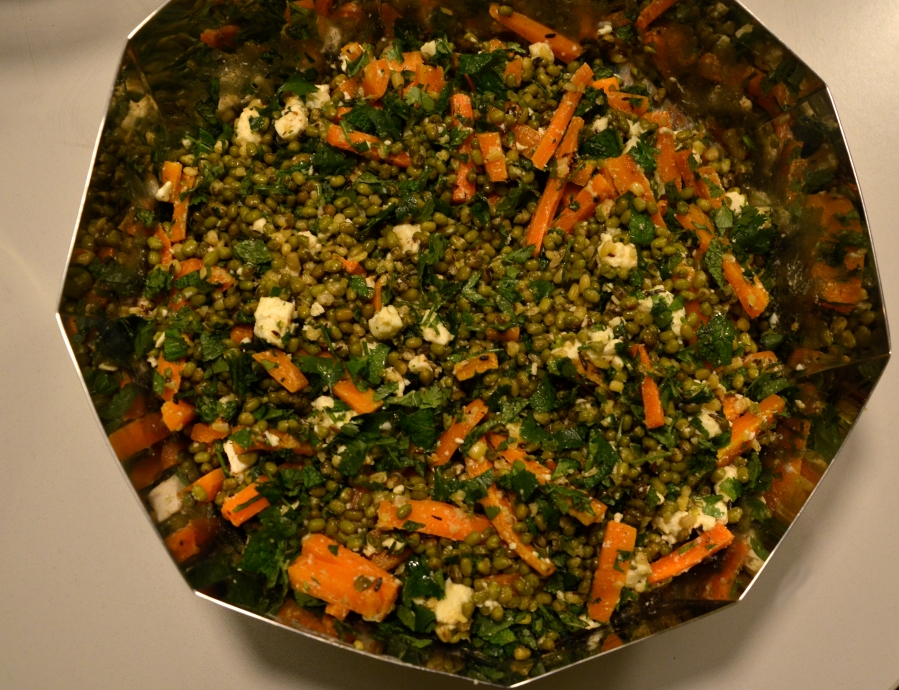 Carrot-Feta-Mung bean salad