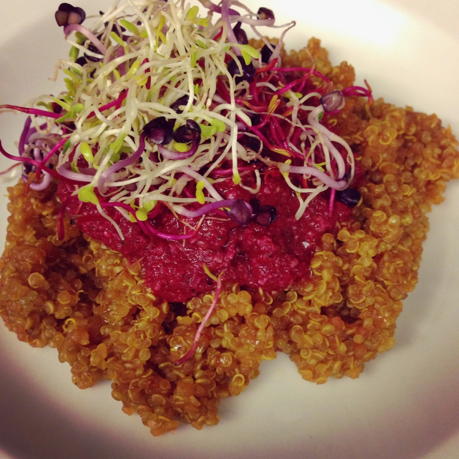Beet-Quinoa tower
