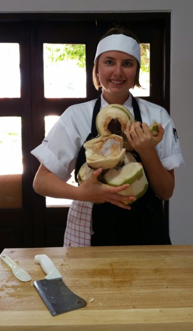 opening coconuts