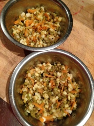 mung beans, pasta, carrots