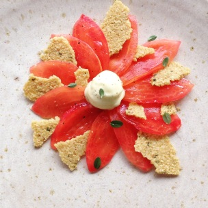 smoked tomatoes, pine nut crisps, olive oil ice cream