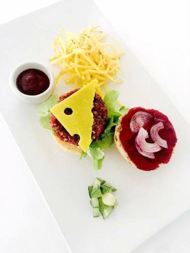 beet ketchup, lentil and beet burger, cashew cheddar, chipotle mayo, fries etc.