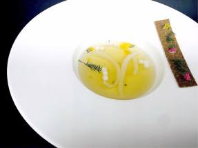 consomme, daikon and coconut strips, coriander crackers