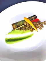 carrot and broccoli stem, lentils, leek sauce, spicy oil
