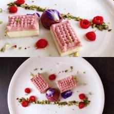 macadamia pastry, lmon curd, rasberry ice cream