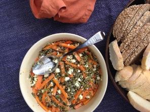 spiced carrot, mung beans, feta