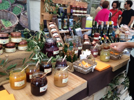 Different types of sauces, olive oils and olives from south of Italy